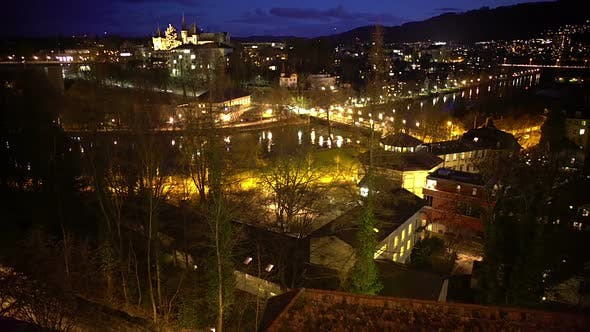 Thumbnail for Evening Panorama of Bern City in Switzerland, Illuminated Houses, Enjoyable View