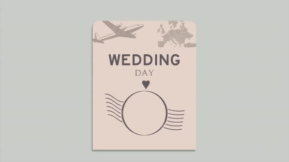 Wedding Day text and  passport with navigate compass and hearts