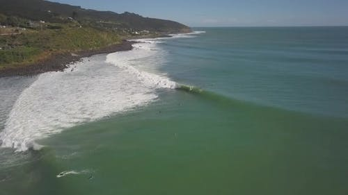 Surfers in New Zealand aerial view