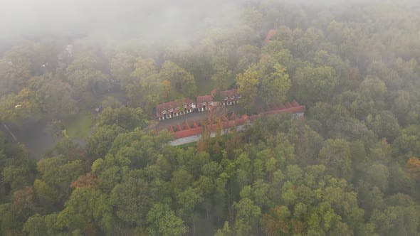 Hotel Houses in the Woods on a Foggy Gloomy Day