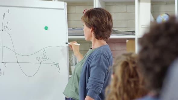 Thumbnail for Math Teacher Drawing Chart on Whiteboard