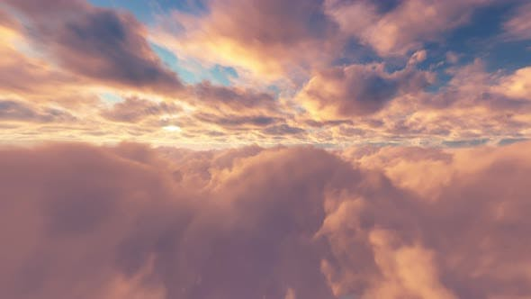 Thumbnail for Flying Through Clouds Sunset 01 4K