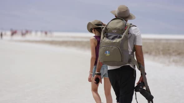 Thumbnail for Two people visiting the Badwater Basin