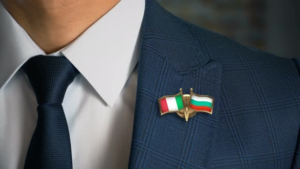 Businessman Friend Flags Pin Italy Bulgaria