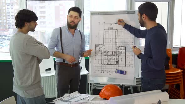 Thumbnail for Architect Explaining Something on the Plan of the Building To His Colleagues