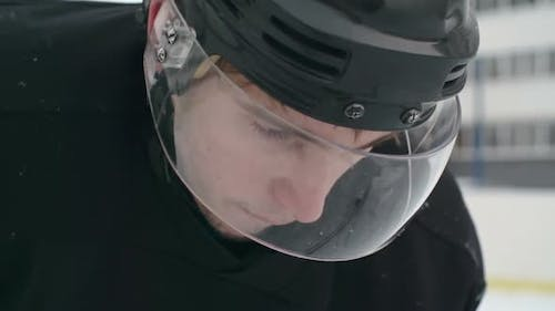 Closeup of Determined Ice Hockey Player