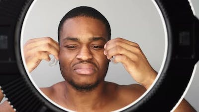 Man Skincare Confused African Removing Eye Patches