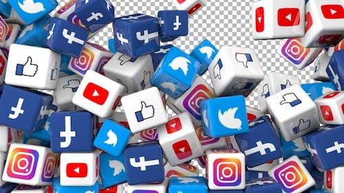 Social Media Icons Transition - Facebook, Twitter, Youtube, Instgram, Like