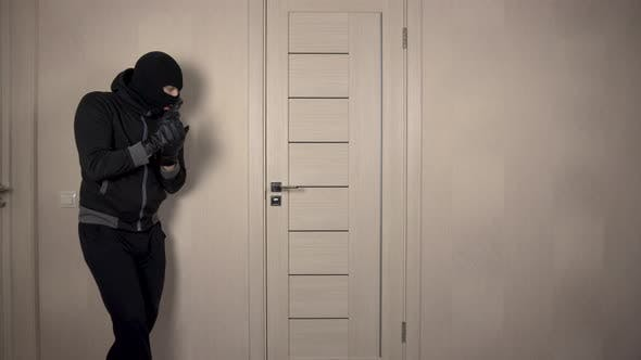 Thumbnail for The Robber Climbed Into the House. The Masked Thug Carefully Entered the Door with a Gun.