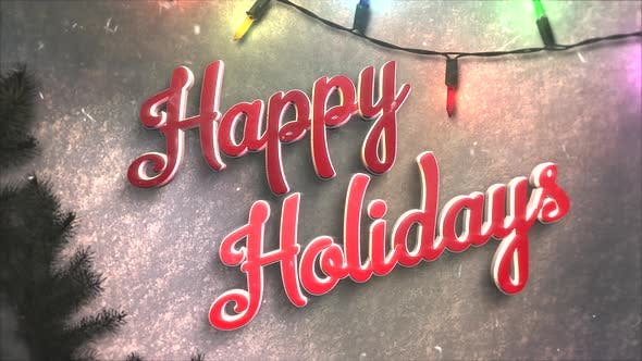 Thumbnail for Animated closeup Happy Holidays text, colorful garland and Christmas green tree