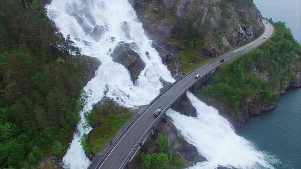 Thumbnail for Famous Langfossen waterfalls in Norway, aerial footage