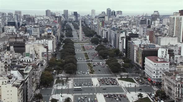 Thumbnail for Aerial View of Buenos Aires City with Obelisk and 9 de Julio Avenue.