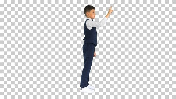School boy touching virtual screen, Alpha Channel