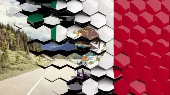 Mexico Flag Hexagon Transition - 4K Resolution