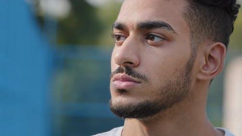 Closeup Male Face Outdoors