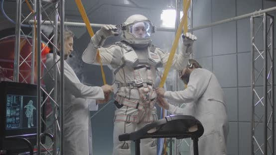 Thumbnail for Scientists Attaching Anti-gravity Bands To Astronaut