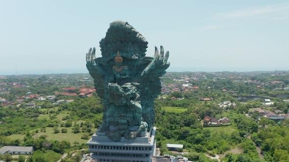 Circling a Majestic Garuda Wisnu Kencana Statue in Bali Indonesia