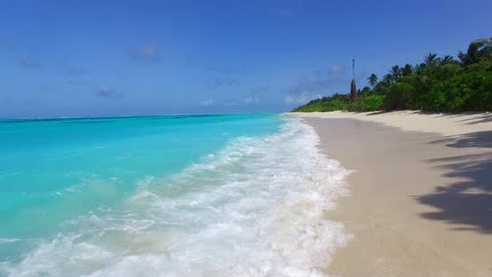 Thumbnail for Beautiful overhead clean view of a sunshine white sandy paradise beach and aqua turquoise water