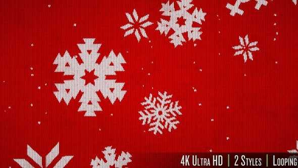 Thumbnail for 4K Knitted Sweater Texture of Snowflakes Falling Background