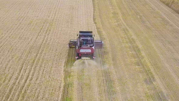 Thumbnail for Harvester Machine To Harvest Wheat Field Working. Combine Harvester Agriculture Machine Harvesting