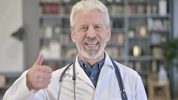 Senior Old Doctor Showing Thumbs Up