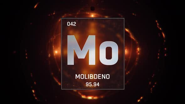 Thumbnail for Molybdenum as Element 42 of the Periodic Table on Orange Background in Spanish Language
