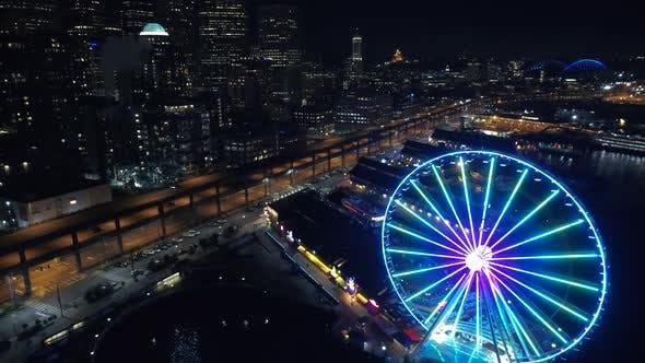 Thumbnail for Seattle Waterfront Lights In Evening Helicopter Flight