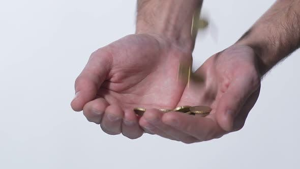 Thumbnail for Male Hands Catching Coins in Slow Motion, Lottery Winner, Social Aid, Money