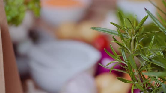 Thumbnail for Fresh Food Ingredients On Wooden Table In Kitchen