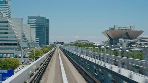 Yurikamome Transit System in Odaiba of Japan