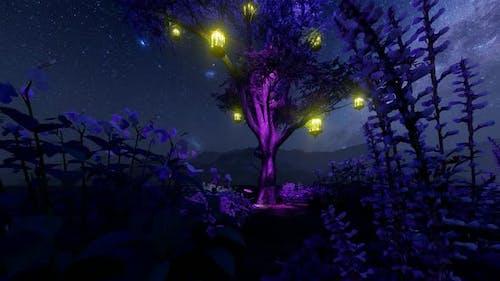 Illuminated Tree and Flower Garden Milky Way View