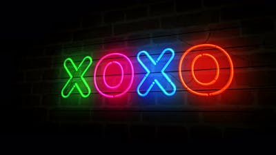XOXO symbol neon on brick wall 3d