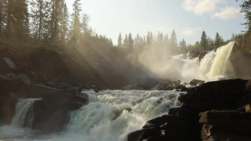 Ristafallet Waterfall in the Western Part of Jamtland