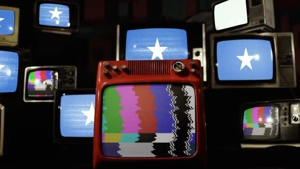 Flag of Somalia on Stack of Vintage TV Set.