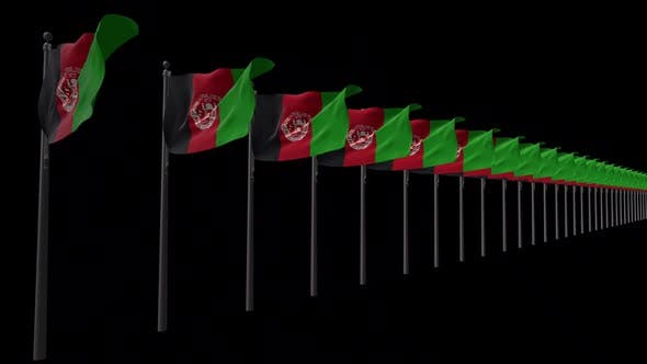 Row Of Afghanistan Flags With Alpha 2K
