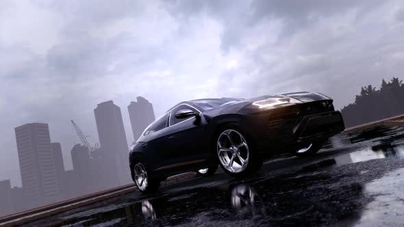 Thumbnail for Black SUV Off-Road Vehicle in Rainfall Street