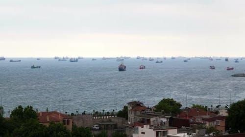 Ships in the Strait of Bosporus Istanbul Turkey Timelapse