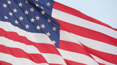 American Flag Waving in Wind USA