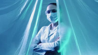 Pandemic Hero Confident Female Doctor in Lab Tent
