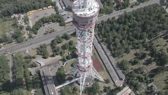 Thumbnail for Kyiv. Ukraine: TV Tower. Aerial View. Flat, Gray