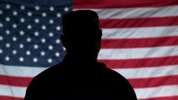 Thumbnail for Silhouette of soldier saluting with American flag in background
