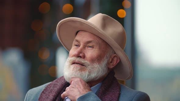 Portrait of an Elderly Bearded Grandfather
