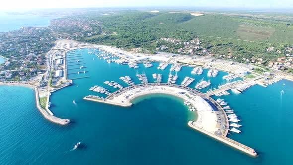 Thumbnail for Aerial view of beautiful modern marine of Sukosan, Croatia
