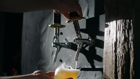 Barman Pours Unfiltered Light Beer From the Beer Tap to the Glass in Slow Motion Pouring Wheat Beer
