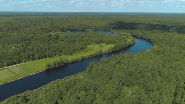 Thumbnail for Natural landscape of the river curve