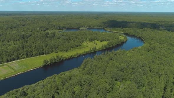 Natural landscape of the river curve