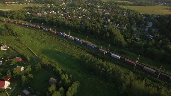 Thumbnail for Cargo Trains Traveling in the Countryside, Russia