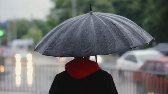Unrecognizable Man Walking in City Under Umbrella