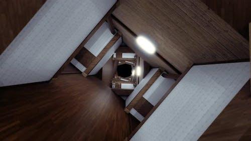 Endloser langer Korridor in Form eines surrealen Tunnels