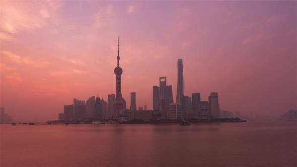 Thumbnail for Shanghai, China - Sunrise Shanghai Skyline as seen from the Bund